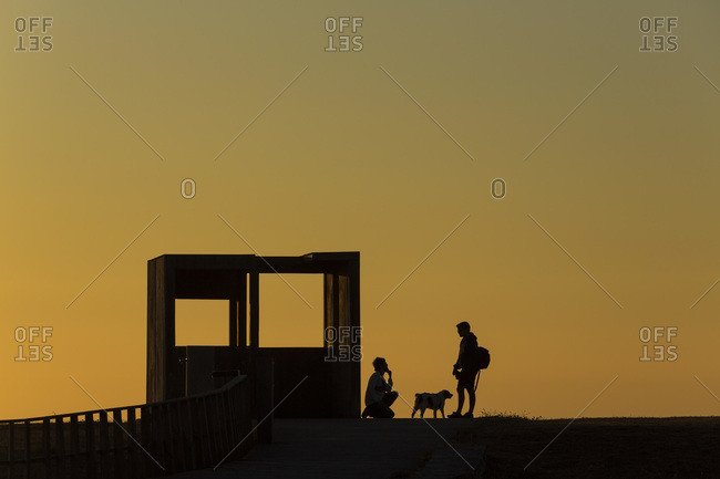 La Coruna, Galicia, Spain - June 28, 2015: People and dog in Spanish sculpture park