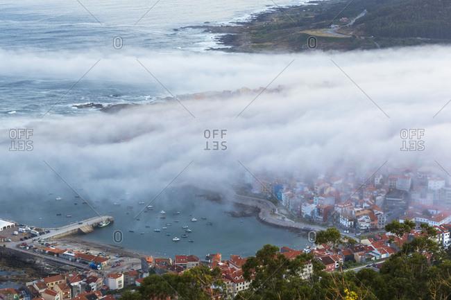 Fog over Spanish coastal town