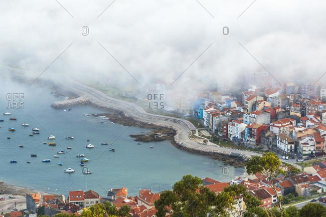 Fog over a Spanish coastal town