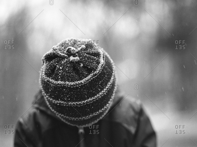 Close-up of a child wearing a knit hat