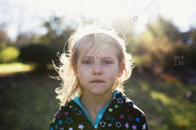Close-up of a girl in hazy light