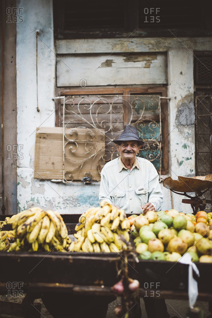 Havana, Cuba - January 10, 2016: Man selling fruit in the street