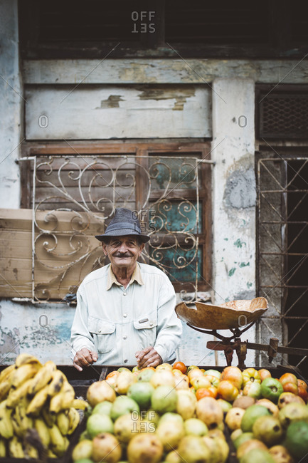 Havana, Cuba - January 10, 2016: Man selling fruit