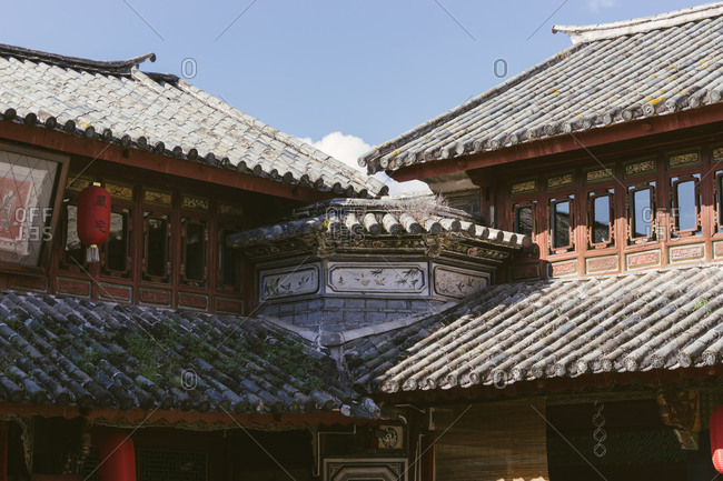 Architectural detail of Chinese clay cylinder roof tiles