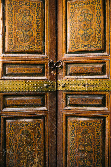 Ornately decorated doors in Bahia Palace, Marrakech