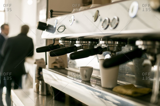 Coffee maker in cafe