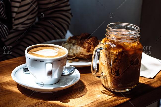 Coffee with a heart foam