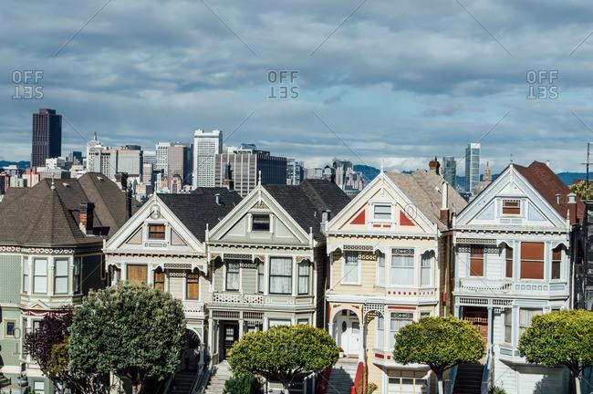 San Francisco, CA, USA - April 25, 2014: Painted Ladies in San Francisco
