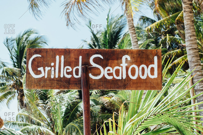 Grilled seafood sign, hand painted