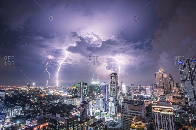Lightning bolts above the Bangkok skyline