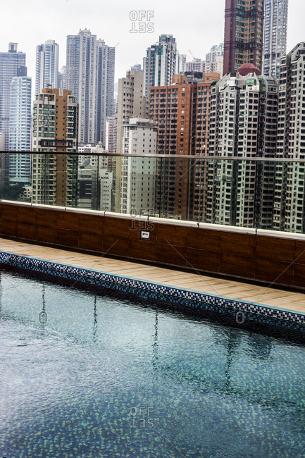 Empty hotel swimming pool on a rooftop in Hong Kong