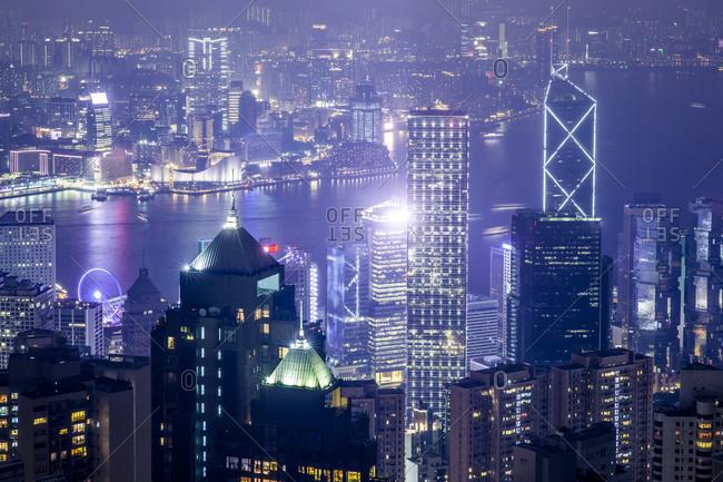 Hong Kong skyline illuminated at night