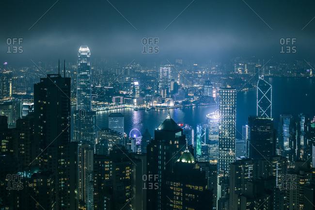 Skyscrapers in Hong Kong illuminated at night