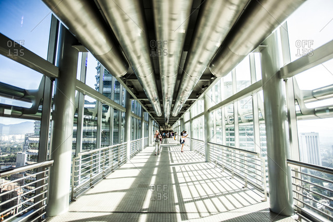 Kuala Lumpur, Malaysia - December 1, 2015: Interior of the skybridge at the Petronas Towers in Kuala Lumpur