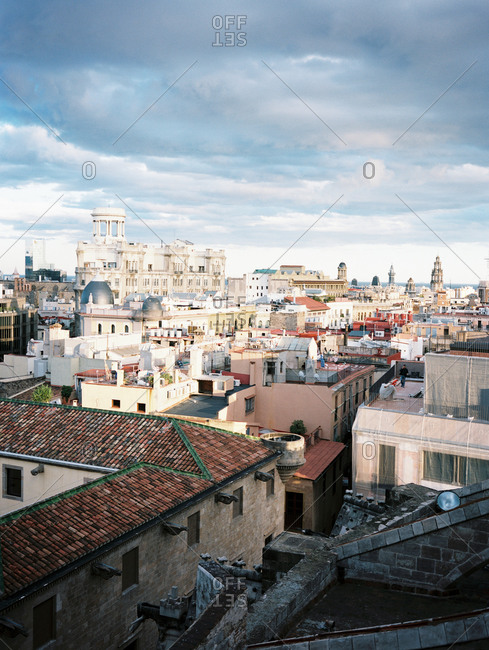 View of an older city from a rooftop vantage point