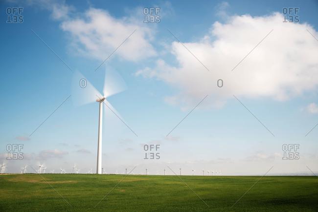 Blurred blades of wind turbine