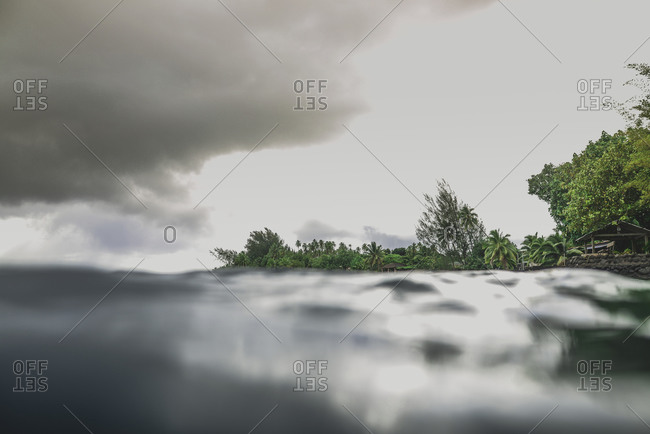 View from the water of the shoreline of Moorea, French Polynesia