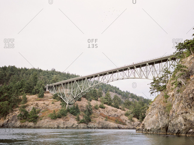 Bridge spanning high above a mountain river