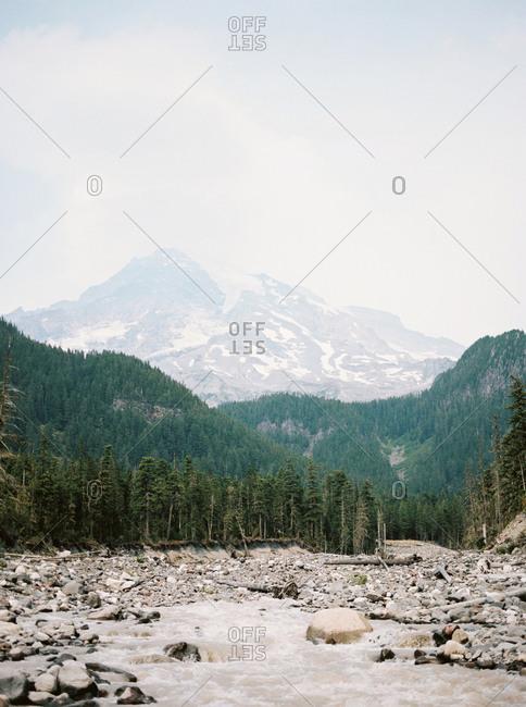 Mountain river cascading over rocks