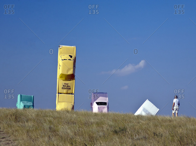 "Alliance, Nebraska, USA - August 18, 2007: ""The Fourd Seasons"" sculpture at Carhenge"
