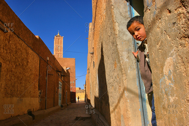 Wilaya, Algeria - December 29, 2004: A boy in the city of Tamanghasset in southern Algeria