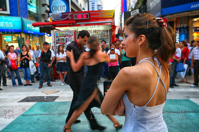 Buenos Aires, Buenos Aires, Argentina - December 12, 2000: Dancers performing in a plaza of Buenos Aires