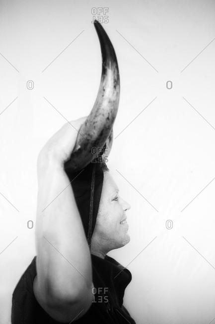 Luzon, Guadalajara, Spain - March 1, 2014: Portrait of a person dress for the Devils festival