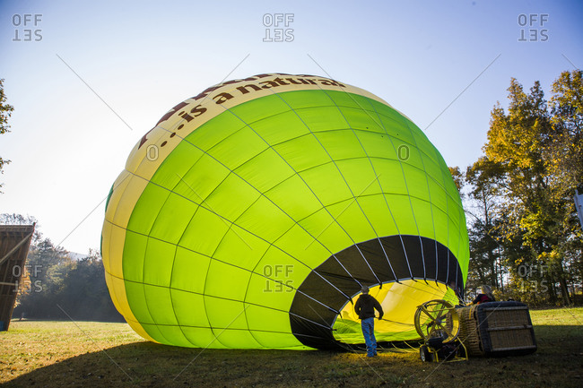 A hot air balloon gets inflated in Arkansas
