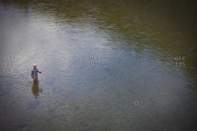 Montana, USA - July 12, 2013: An angler on the Missouri River