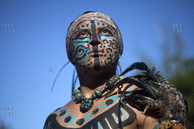 Piste, Yucatan, Mexico - September 19, 2015: A Mayan Ball Player from the Chapab team in full face paint