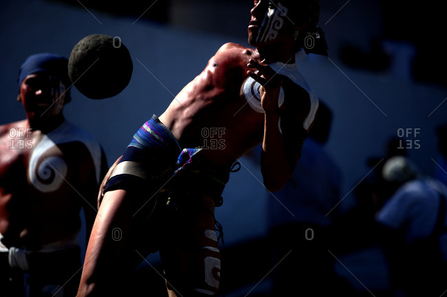Piste, Yucatan, Mexico - September 19, 2015: Close up of a Mayan Ball Player hitting the ball