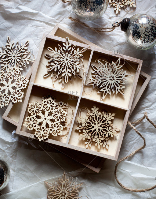 A box of snowflake ornaments