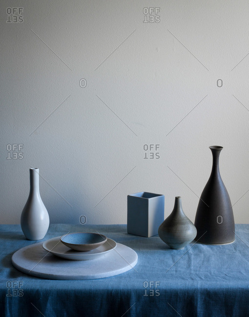Various decorative items on table