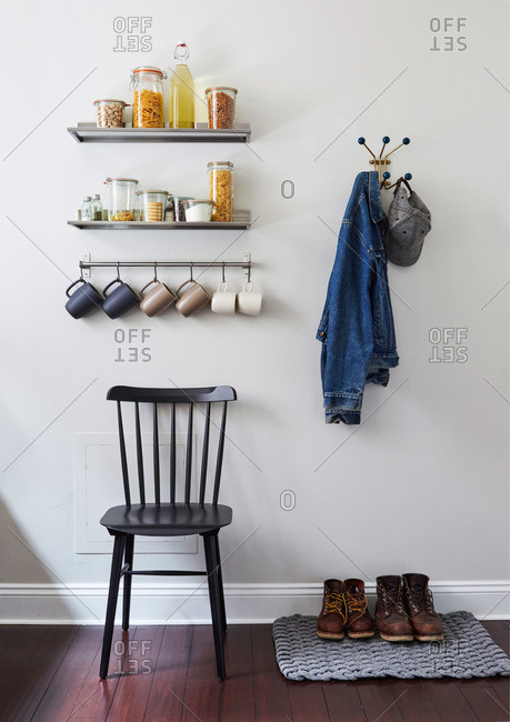 Various items on a kitchen wall