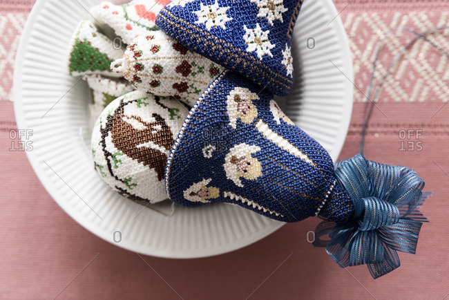 Crocheted bell shaped decorations