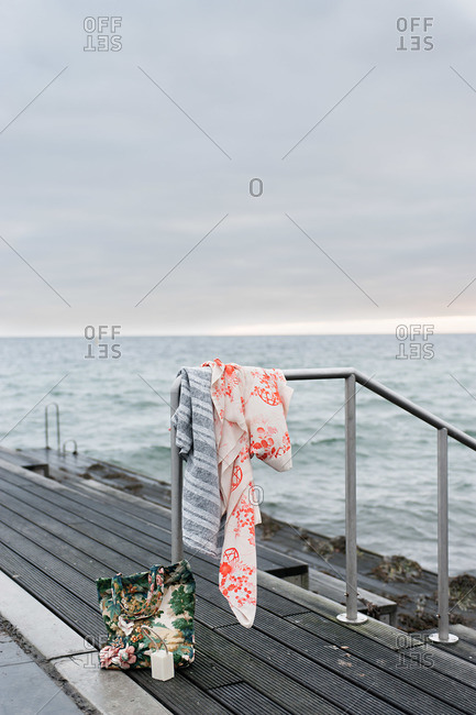 Clothes on a coastal dock
