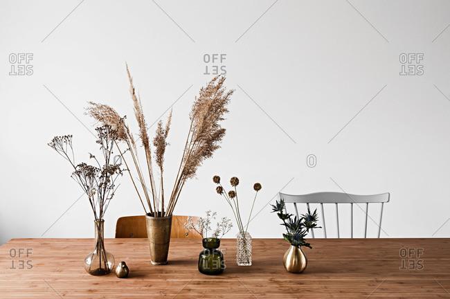 Dried flowers in vases