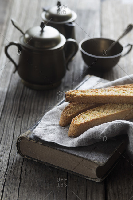 Biscotti, a book and a pewter coffee service