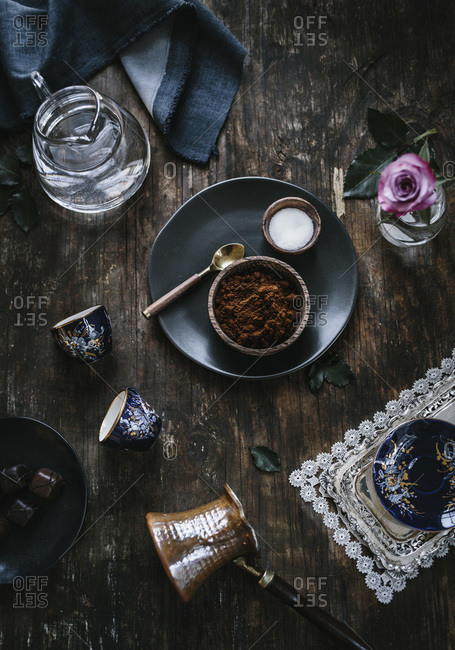 Still life of ingredients being prepared to serve Turkish coffee