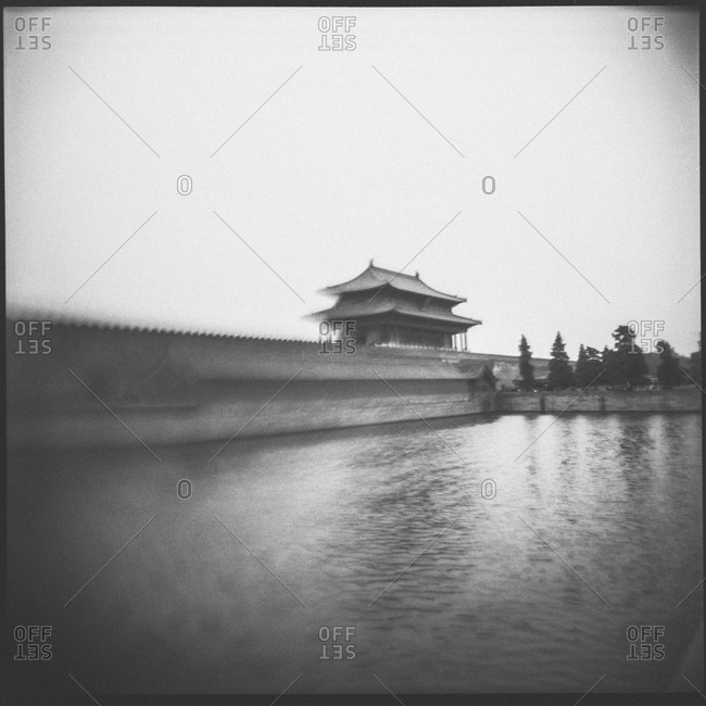 Exterior wall and pond at the Forbidden City in Beijing