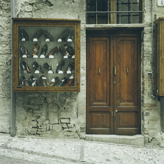 Shoe shop in a small alleyway in Tuscany, Italy