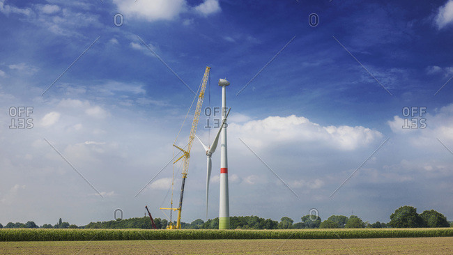 Constructing of wind turbine, Alpen, Wesel, North Rhine-Westphalia, Germany