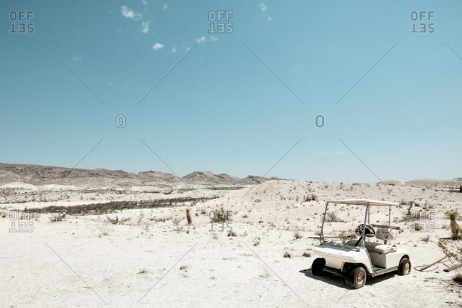 Golf cart in the desert