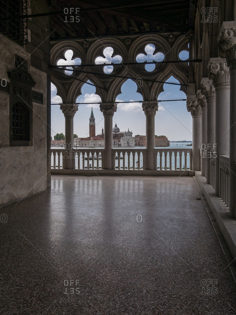 View of San Gigorgio Maggiore church from the arches of Doge's Palace, Venice