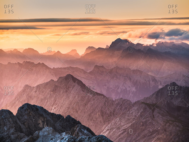 Sunrise mist over the German Alps