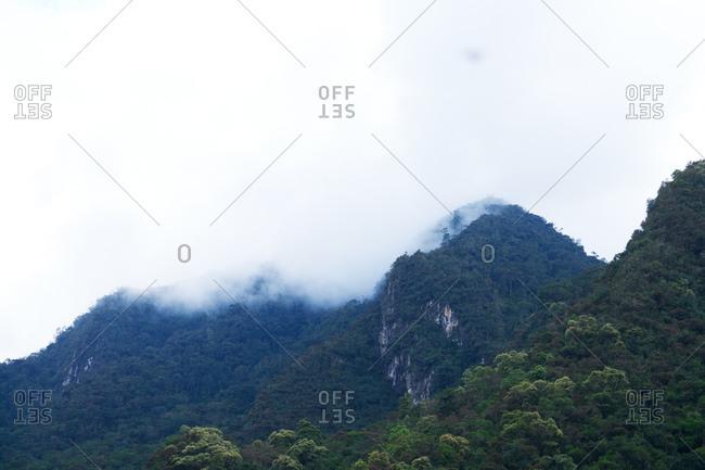 Cloud cover over verdant peaks