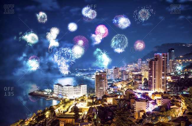Fireworks above Monte Carlo at night