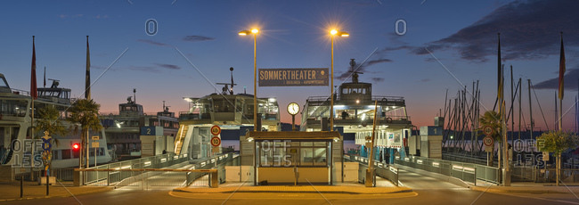 Constance, Germany - July 22, 2015: Ferry port Staad at daybreak