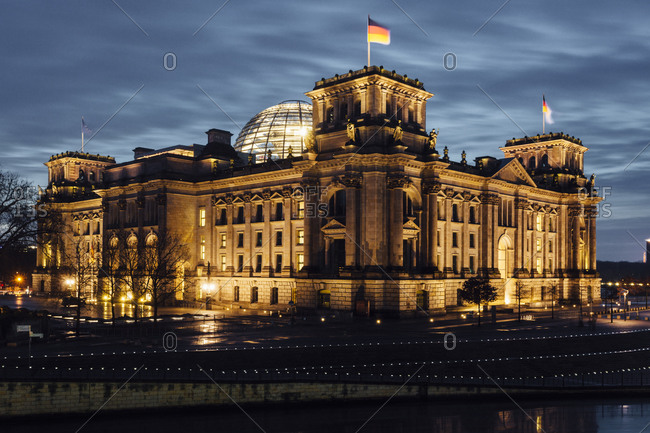 View to lighted Reichstag in the evening