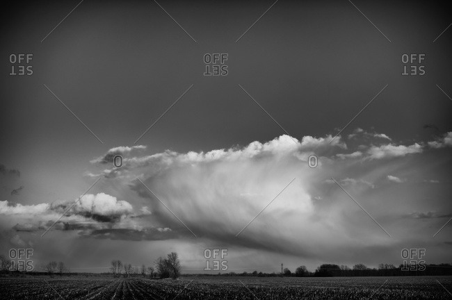 Clouds over a farm field